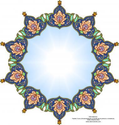 Arte islamica-Tazhib(Indoratura) persiana lo stile Toranj e Shams,Ornamento mediante dipinto o miniatura-85