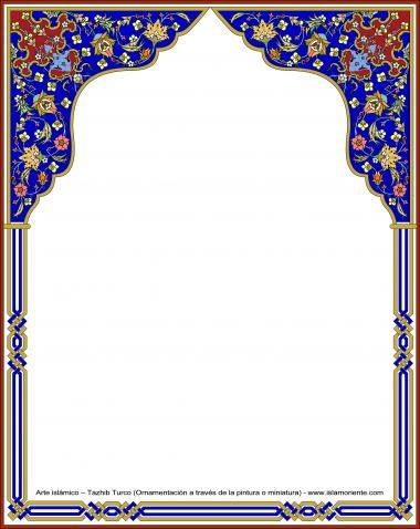 Islamische Kunst, Türkisches Tazhib (Verzierung durch Malerei und Miniatur) - Rahmen - 91 - Tazhib (Verzierungen von wertvollen Seiten und Texten) - Tazhib im Kader