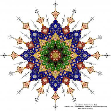 イスラム美術 - ペルシアのトランジとシャムス(太陽)スタイルのタズヒーブ(Tazhib)-  絵画やミニチュアでのページやテキストの装飾- 69
