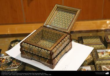 اسلامی ہنر - فن خاتم کاری سے ہاتھ سے سجایا ہوا باکس (ایک قسم کا مرصع جڑنا) ، ایران - ۵۸