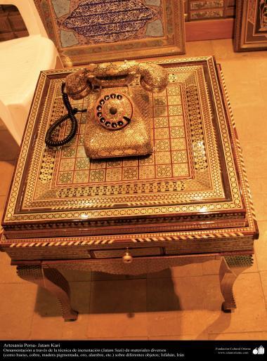 Исламское искусство - Ремесло - Хатам Кари (Инкрустация) - Моарраг - Декоративные вещи - Телефон и стол - 43