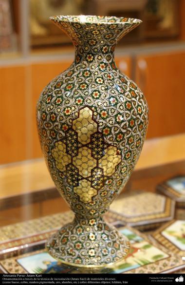 Исламское искусство - Ремесло - Хатам Кари (Инкрустация) - Моарраг кари - Декоративные вещи - Цветочный горшок - 40