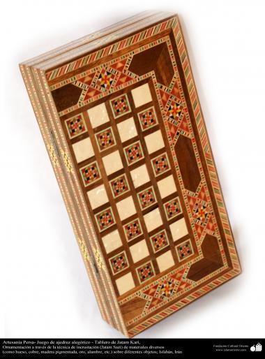 Artisanat persans jeu d'échecs allégorique - Conseil d'Khatam Kari - 25