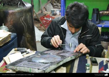 Artesanato Persa - Artesão trabalhando com metal, (Qakam Zani)