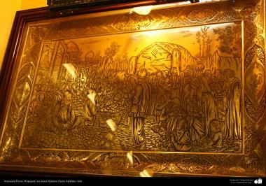Artesanato Persa - Quadro feito com a técnica (Qakam Zani) metal em relevo, Isfahan, Irão