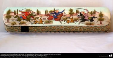 Artesanía Persa, cartuchera ornamentada en Jatam Kari en el centro una miniatura realizada sobre hueso - 21
