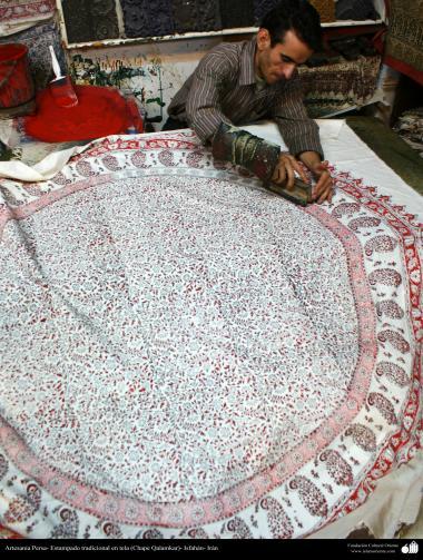 Artesanato Persa - Estampado tradicional em tecido (Chape Qalamkar) Isfahan, Irã - 7