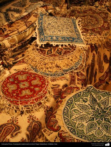 Artesanato Persa - Estampado tradicional em tecido (Chape Qalamkar) Isfahan, Irã - 14
