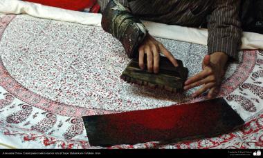 Artesanato Persa - Estampado tradicional em tecido (Chape Qalamkar) Isfahan, Irã - 3