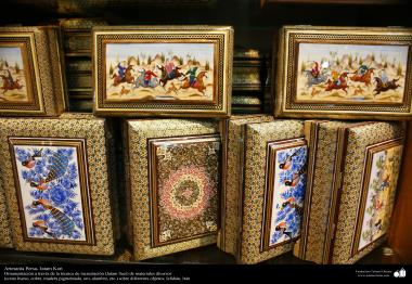 اسلامی فن - ہاتھ کا ہنر - خاتم کاری (چیزوں کی سجاوٹ) - اصفهان کا شہر ، ایران - ۱۵