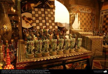 Artesanato Persa, jogo de xadrez alegórico - Taboleiro de Khatam Kari - peças modernas