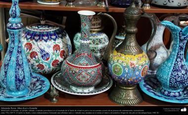 Artesanato Persa - Mina Kari o esmalte. Técnica de ornamentação de objetos criada no Irã no ano de 1500 a.C - 2