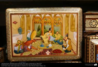 Persian handicrafts- persian minature on bone, framed in Jatam Kari - 46
