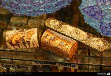 Artesanato Persa - Pintura em osso de camelo - Na famosa cidade de Isfahan, Irã - 5