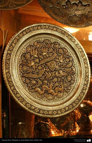 Artesanato Persa - metal em relevo (Qalam Zani) Isfahan, Irã - 12