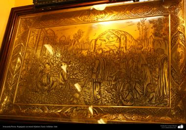 Persian handicraft - embossed in metal (Qalam Zani) - 10
