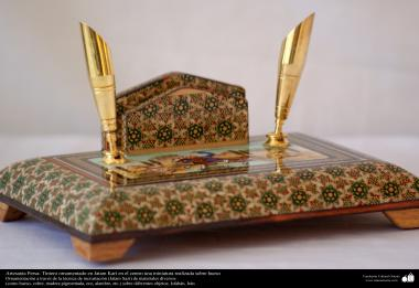 Persian Handicrafts -  Ornamentated Inkwell in Khatami Kari