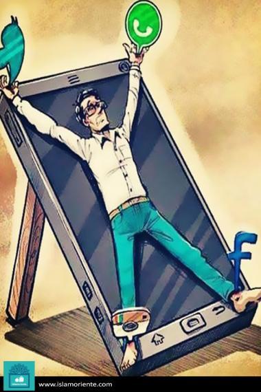 Atrapado en la tecnología (caricatura)