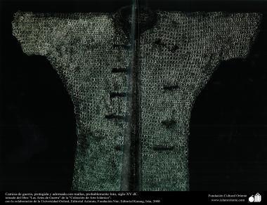 Camisa de guerra, protegida y adornada con mallas, probablemente Irán, siglo XV dC.