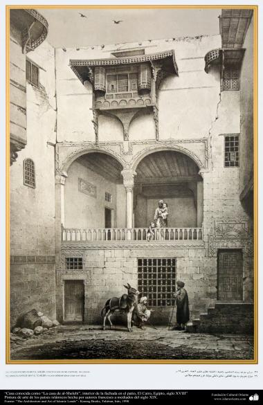 """Art & Islamic Architecture in painting - Places known as """"the house of al-Shelebi"""" inside the facade in the courtyard, Cairo, Egypt, XVIII century"""