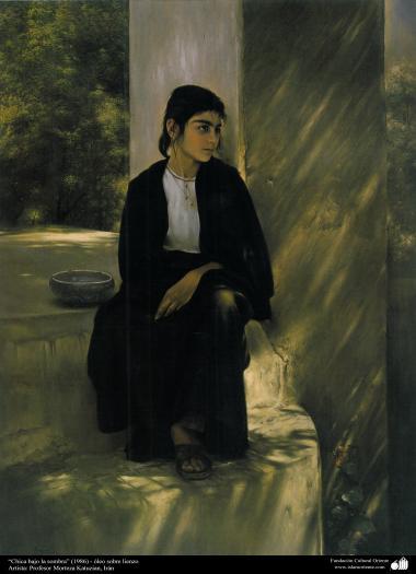 """Arte islamica-Pittura-Olio su tela-Opera di maestro Morteza Katusian-""""Fanciulla sotto l'ombra""""-1986"""