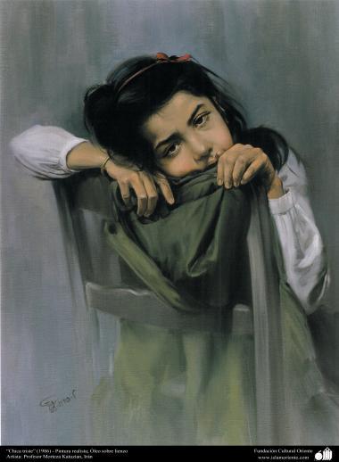 """استاد مرتضی کاتوزیان کی پینٹنگ """"اوداس لڑکی"""" - ایران ، سن ۱۹۸۶ء"""