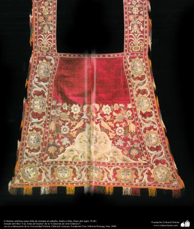 Cobertor artístico para silla de montar al caballo, India o Irán, fines del siglo 19 dC.