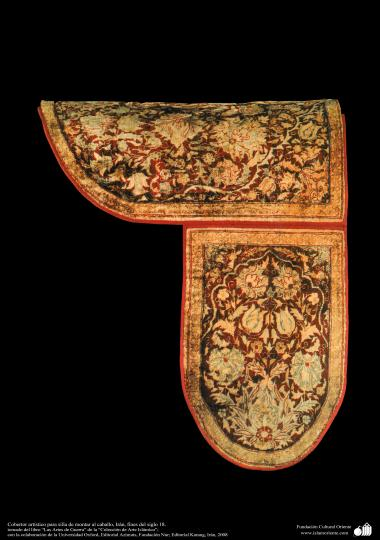 Cobertor artístico para silla de montar al caballo, Irán, fines del siglo 18.