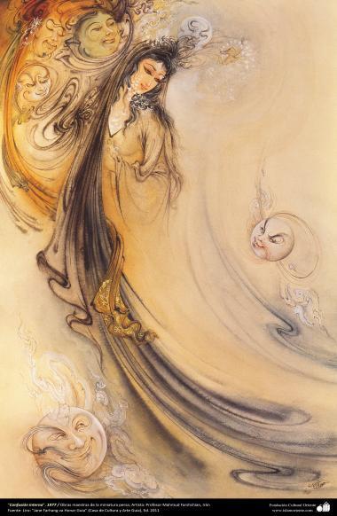 هنر اسلامی - شاهکار مینیاتور فارسی - استاد فرشچیان - نام  اثر : آشفتگی درونی - 1977