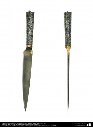 戦争用・装飾用の古い用品 - ナイフと美しい細部で飾られ他の道具 - インド - 18世紀