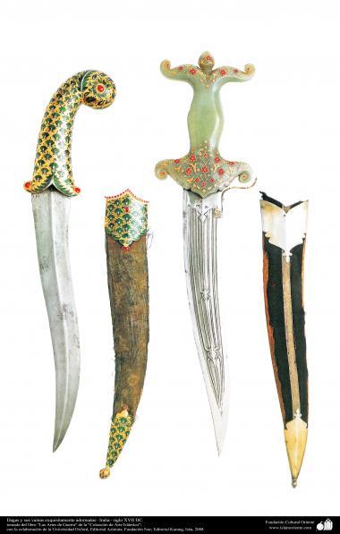 أدوات قديمة من الحرب و دیکورات - سكين غمد والأثاث المنحوتة - القرن السابع عشر
