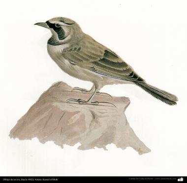 Drawing of a bird - Persian painting - By prof.Kamal ol-Molk (1902)