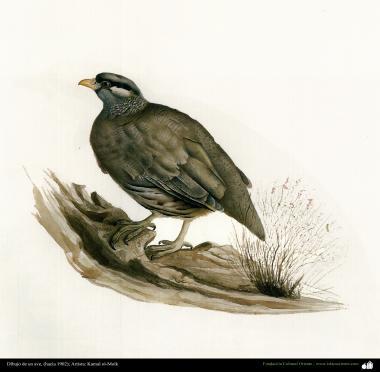Desenho de um pássaro (1902); Artista: Kamal ol-Molk - 1