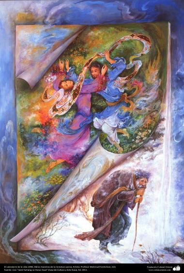 イスラム美術(マフムード・ファルシチアン画家によるミニチュア傑作 - 「生活のカレンダー」- 1998