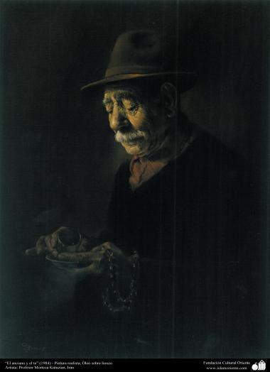 """Arte islamica-Pittura-Olio su tela-Opera di maestro Morteza Katusian-""""Anziano e il tè""""-1984"""