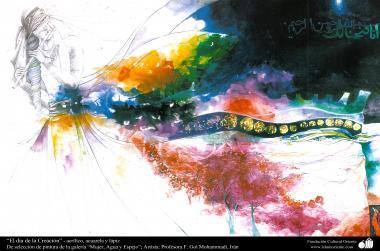 イスラム美術(絵、アクリル(ゴルモハマデイ画家の「女性、水と鏡ギャラリ」からの「「創造の日」)(右上にコーランからの教えが表示されている)