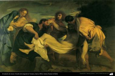 The burial of Jesus (Tiziano original study) - around 1892 - Artist : Kamal ol-Molk