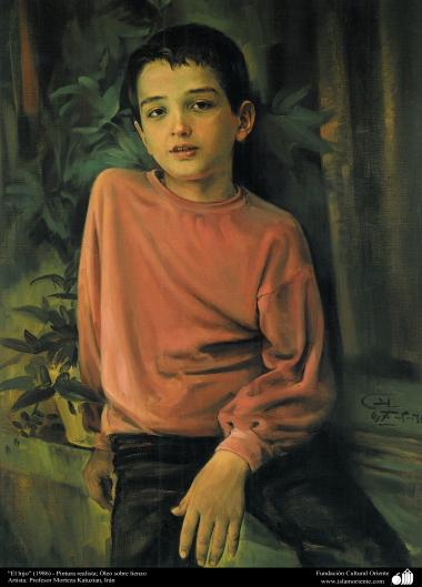 """El hijo"" (1986) - Pintura realista; Óleo sobre lienzo, Artista Profesor Morteza Katuzian"
