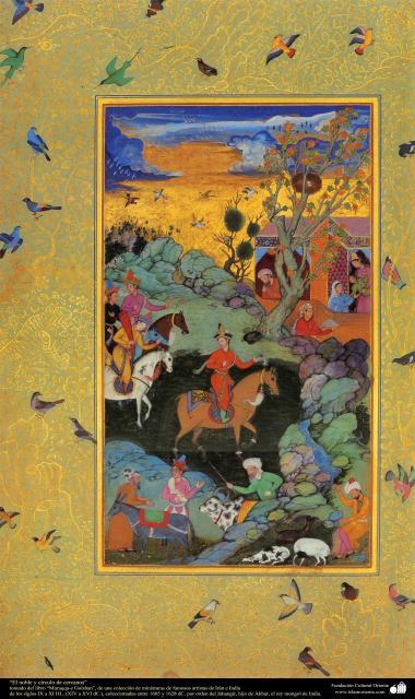 """""""Der Noble und der Umkreis"""" - Miniatur aus dem Buch """"Muraqqa-e Golshan"""" - 1605 und 1628 n.Chr. - Islamische Kunst - Persische Miniatur"""