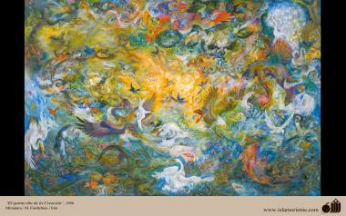 O quinto dia da Criação, 1990. Miniatura. M. Farshchian - Irã