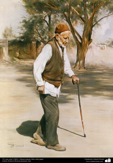 """the old rural man"" (2003) - Realistic Painting; Oil on canvas, Artist Professor Morteza Katuzian"