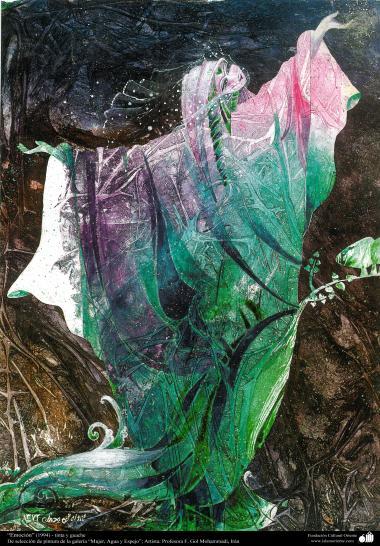 """هنراسلامی - نقاشی - جوهر و گواش - انتخاب نقاشی از گالری """"زنان، آب و آینه"""" - اثر استاد گل محمدی - """"احساس"""" (1994)"""