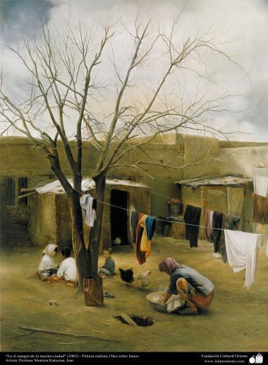 """Arte islamica-Pittura-Olio su tela-Opera di maestro Morteza Katusian-""""Nel margine della nostra campagna""""-2003"""