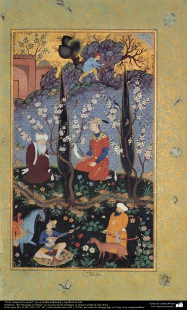 """Im Präsenz des Asketen""- Miniatur Buch  ""Muraqqa-e Golshan"" - im Jahr 1605 und 1628 - Miniaturen aus dem Buch Muraqqa-e-Golshan - Bilder"
