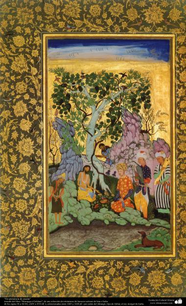 """""""Im Präsenz des Asceten"""" - Miniatur aus dem Buch """"Muraqqa-e Golshan"""" - 1605 und 1628 n.Chr. - Islamische Kunst - Persische Miniatur"""