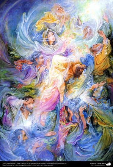 """""""Luz de louvor"""" 2002 Obras primas da miniatura persa; Artista Professor Mahmud Farshchian, Irã"""