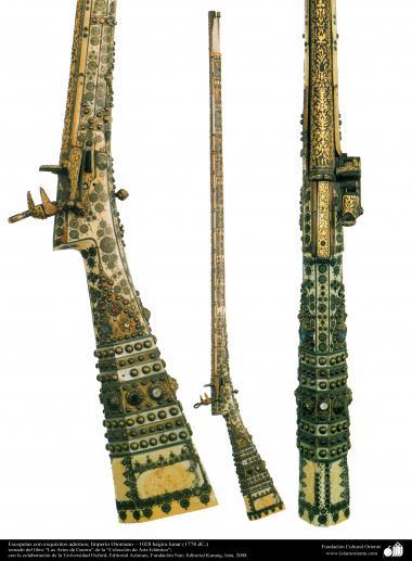 ادوات القديمة للحرب والزخرفية - بنادق خرطوش مع النقوش کثیر - المتأنق - الإمبراطورية العثمانية - 1028 ه - 1778 م