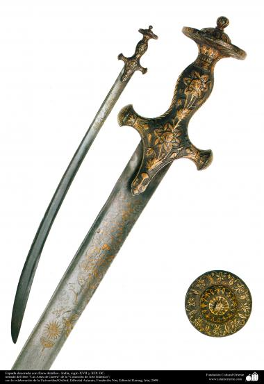 Weapons and decorated enamelware - Sword decorated with fine details - India, XVII and XIX century.