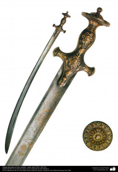 پرانی جنگی ہتھیار - تلوار پر پھول پتی کی ڈیزاین - ہندوستان -  سترہویں اور انیسویں سدی