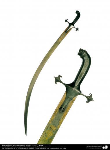 وسایل کهن جنگی و تزئینی - شمشیر و غلاف تزئین شده با جزئیات ریز - هند - 1163